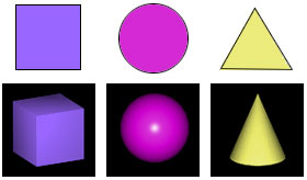 Shapes, comparing square (cube), circle (sphere), triangle (cone)